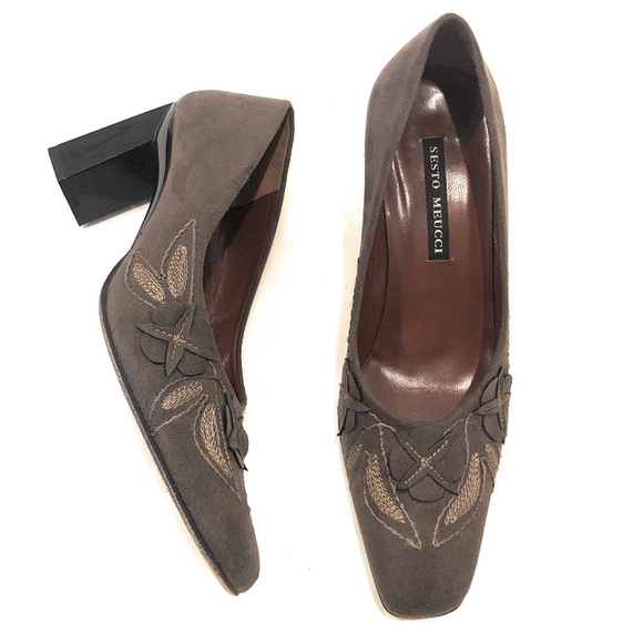 """Sesto Meucci Shoes - Sesto Meucci Heels Suede Leather Pumps 3"""" Chunky"""